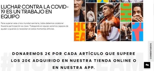 La homepage de Adidas muestra su campaña solidaria en primer plano para mayor visibilidad.