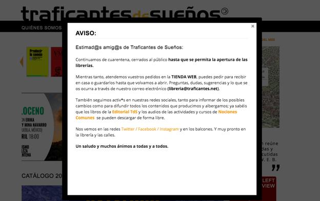Aviso en la web de Traficantes de Sueños durante el estado de emergencia.