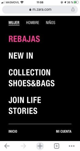 """Zara.com menu uses several unclear terms like """"Collection"""" """"Join Life"""" and """"Stories""""."""
