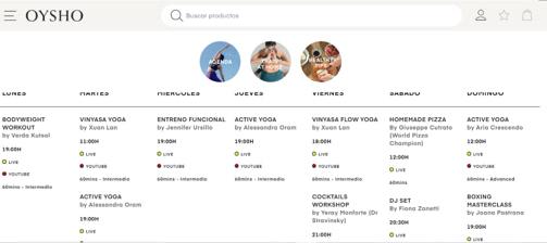 La home de Oysho presenta un horario completo de actividades con las que mantener a sus clientes pendientes de su web.